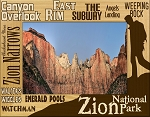 Zion National Park Trail Names Laser Engraved Wood Picture Frame