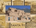 Santa Fe New Mexico Montage Laser Engraved Wood Picture Frame