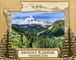 Mount Rainier Washington Laser Engraved Wood Picture Frame (5 x 7)