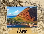 Oahu Hawaii Laser Engraved Wood Picture Frame