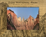 Zion National Park Angels Landing on Top Laser Engraved Wood Picture Frame