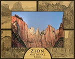 Zion National Park with 4 Scenes Laser Engraved Wood Picture Frame