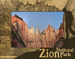Zion National Park with Hiker Laser Engraved Wood Picture Frame