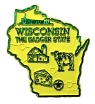 Wisconsin the Badger State Map Fridge Magnet