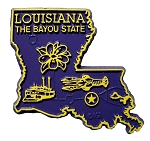 Louisiana The Bayou State Map Fridge Magnet