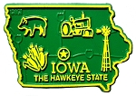 Iowa The Hawkeye State Map Fridge Magnet