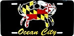 Ocean City Maryland Crab with Flag Design License Plate