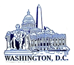 Washington D.C. Montage Blue and White Fridge Magnet