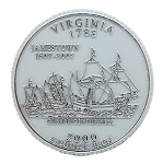 Virginia State Quarter Fridge Magnet