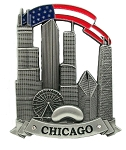 Chicago Skyline with American Flag Metal Fridge Magnet