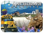 Anchorage Alaska with Moose and Train Cityscape Fridge Magnet