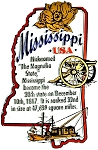 Mississippi The Magnolia State Outline Montage Fridge Magnet