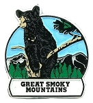 Great Smoky Mountains with Bear Round Fridge Magnet