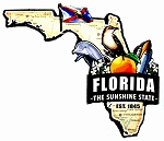 Florida the Sunshine State Est. 1845 Artwood Jumbo Fridge Magnet