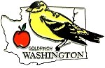 Washington State Outline with Goldfinch Fridge Magnet