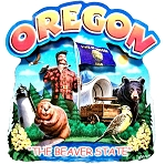 Oregon the Beaver State Artwood Montage Fridge Magnet
