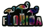 Florida with 3 Flamingos Multi Color Fridge Magnet