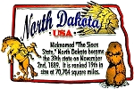 North Dakota The Sioux State Outline Montage Fridge Magnet