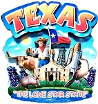 Texas The Lone Star State Artwood Montage Fridge Magnet
