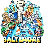 Baltimore Maryland Cartoon Skyline Artwood Fridge Magnet
