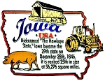 Iowa the Hawkeye State Outline Montage Fridge Magnet