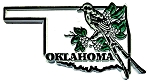 Oklahoma State Outline with Scissor-Tailed Flycatcher and Flowers Fridge Magnet