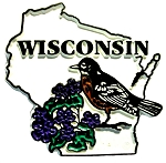 Wisconsin State Outline with American Robin and Flowers Fridge Magnet