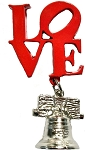 Philadelphia Love Liberty Bell Dangle Metal Fridge Magnet