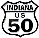Route 50 Indiana Road Sign Fridge Magnet