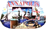 Annapolis Maryland Montage Artwood Fridge Magnet