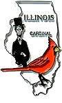 Illinois State Outline with Cardinal Fridge Magnet