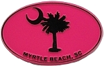Myrtle Beach Pink Oval Fridge Magnet