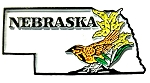 Nebraska State Outline with Western Meadowlark and Flowers Fridge Magnet