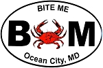 Ocean City Bite Me with Crab Window Decal