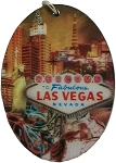 Las Vegas Vintage Look Double Sided Oval 3D Key Chain