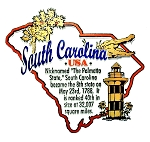 South Carolina the Palmetto State Outline Montage Fridge Magnet