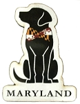 Maryland Dog with Flag Bowtie Artwood Fridge Magnet