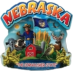 Nebraska the Cornhusker State Artwood Montage Fridge Magnet
