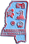 Mississippi the Magnolia State Map Fridge Magnet