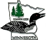 Minnesota State Outline with Common Loon Fridge Magnet