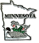Minnesota State Outline with Common Loon and Flowers Fridge Magnet