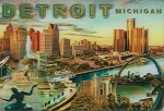 Detroit Michigan Montage Double Sided 3D Key Chain