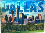 Dallas Texas Skyline with Trees 3D Postcard