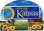 Kansas State Welcome Sign Artwood Magnet