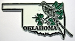 Oklahoma State Outline with Scissor-Tailed Flycatcher and Flowers Fridge Magnet Design 1