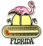 Florida with Pink Flamingo Thermometer Fridge Magnet