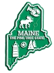 Maine the Pine Tree State Map Fridge Magnet