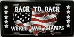 Back to Back World War Champs License Plate Fridge Magnet