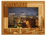 Minneapolis Minnesota Laser Engraved Wood Picture Frame