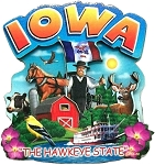 Iowa The Hawkeye State Artwood Montage Fridge Magnet
